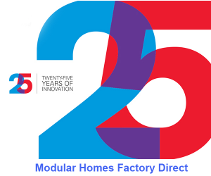 This is a logo for Modular Homes factory Direct on their 25th Anniversary.