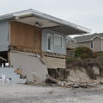 Damaged home on the beach in North Carolina